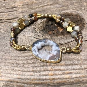 Gold Druzy Agate Bracelet Labradorite Beads